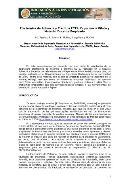 Electrónica de Potencia y Créditos ECTS: Experiencia Piloto y Material Docente Empleado