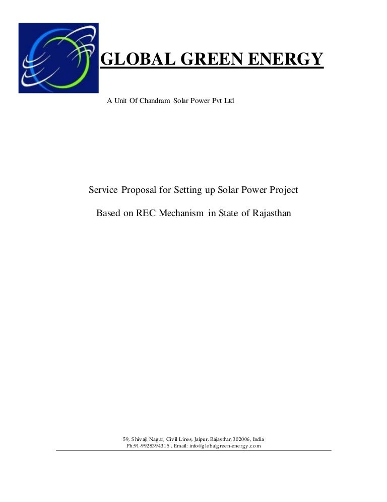 Epc Service Proposal For Setting Up Solar Power Project Standard Temp