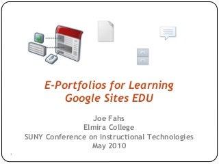 E-portfolios for Learning with Google Sites EDU