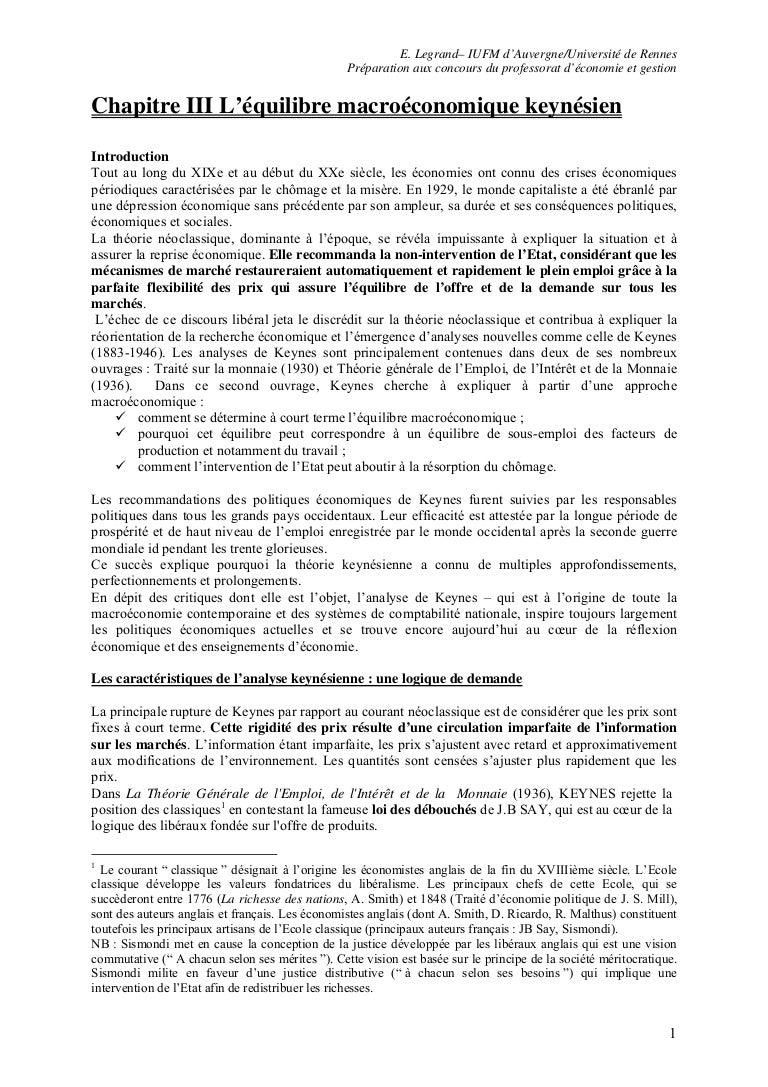 dissertation macroéconomie keynes