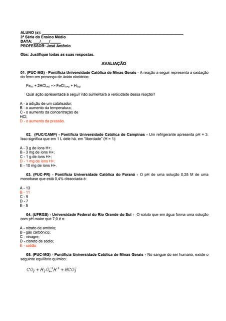 Equilibrio quimico   equação