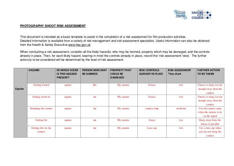 equine shoot risk assessment form