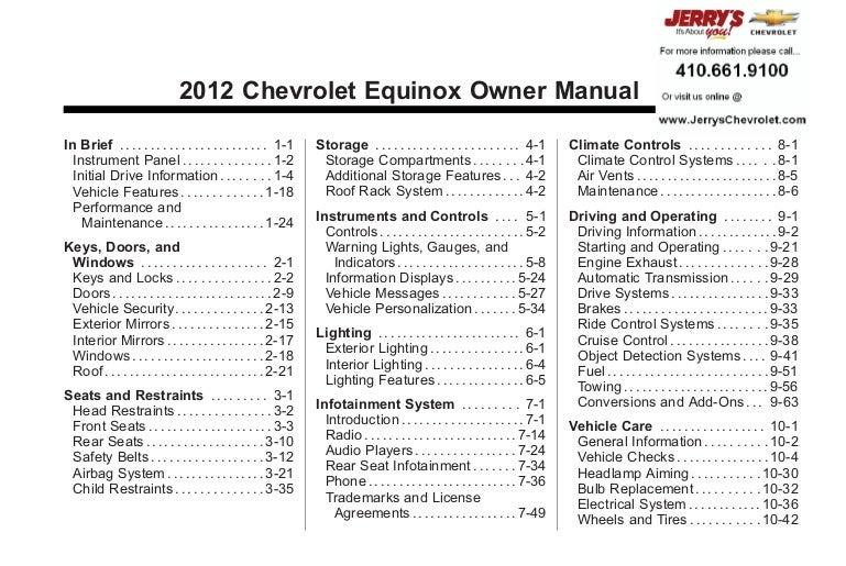 2012 chevrolet equinox owner s manual baltimore maryland rh slideshare net 2011 equinox manual shift not working 2011 chevrolet equinox manual