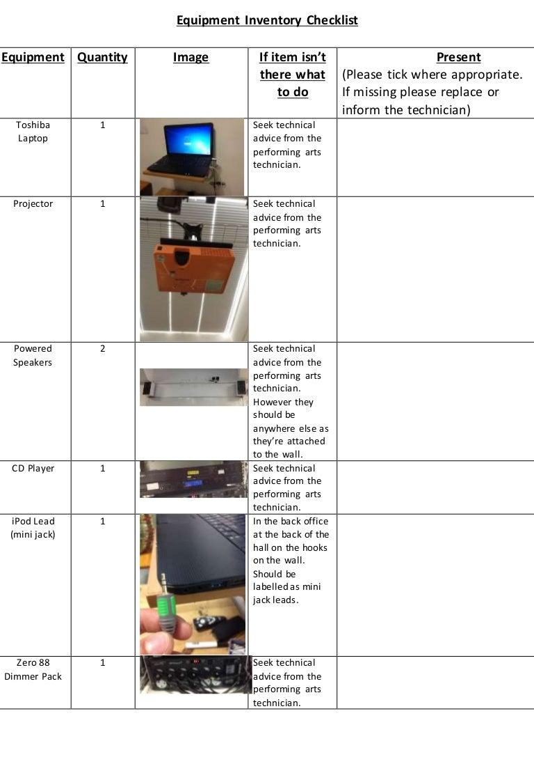 Equipment inventory checklist