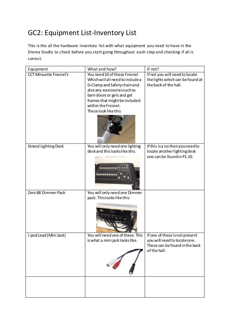 Equipment inventory list
