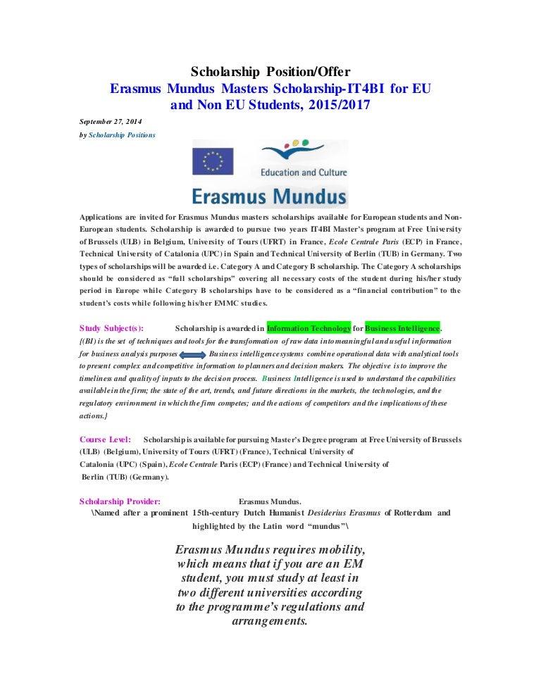 Erasmus mundus masters scholarship spiritdancerdesigns Gallery