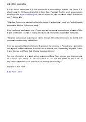Eric N  Klein & Associates, P A  Announces Name Change - Now Klein La…
