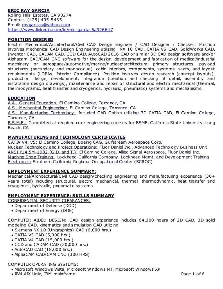 eric garcia resume 3d cad mechanical design engineer