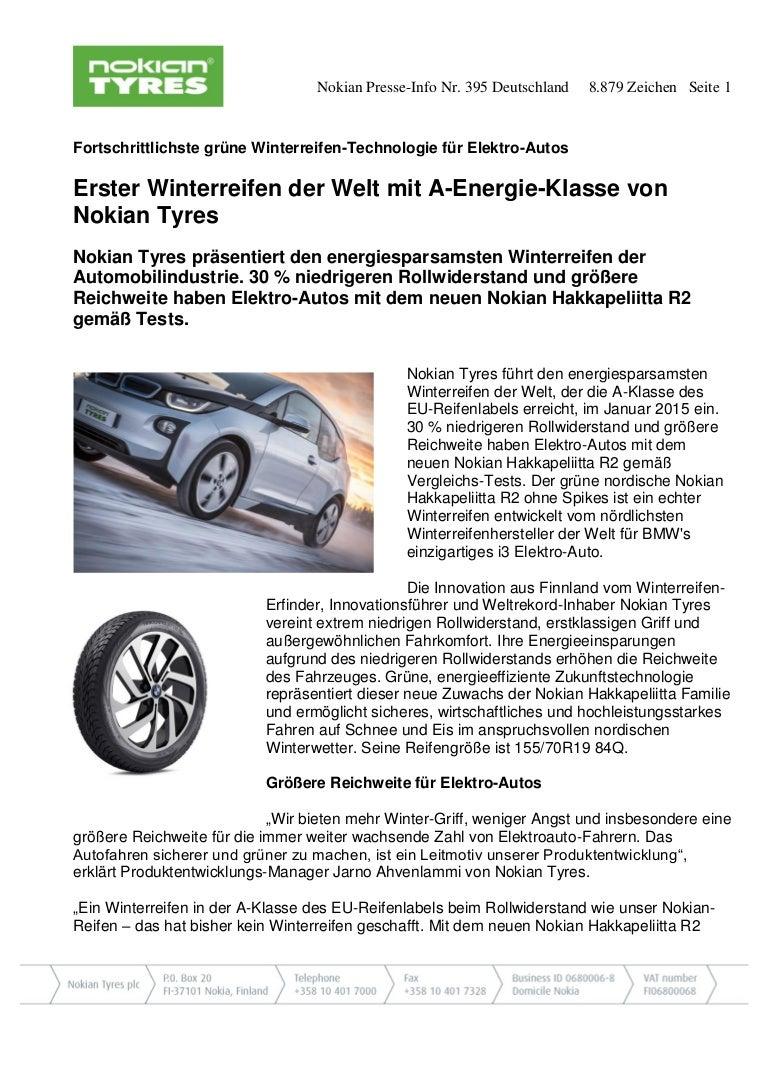Erster Winterreifen der Welt mit A-Energie-Klasse von Nokian Tyres