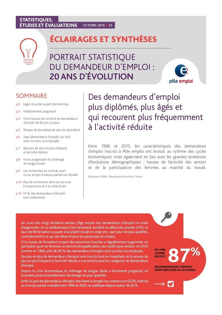 Portait Statistique Du Demandeur D Emploi 20 Ans D Evolution