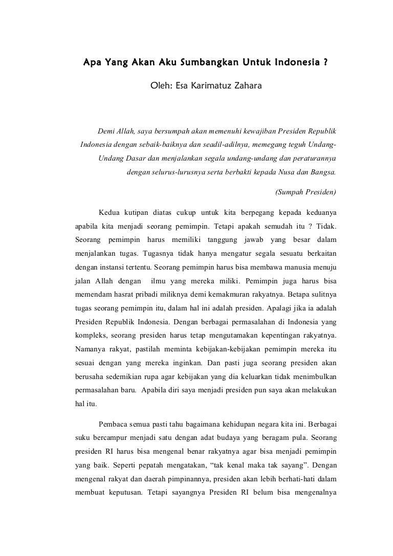 essay tentang jika aku menjadi presiden