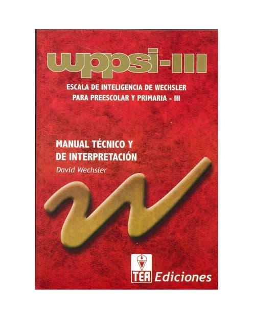 Escal de inteligencia de wechsler para preescolar y primaria wppsi iii