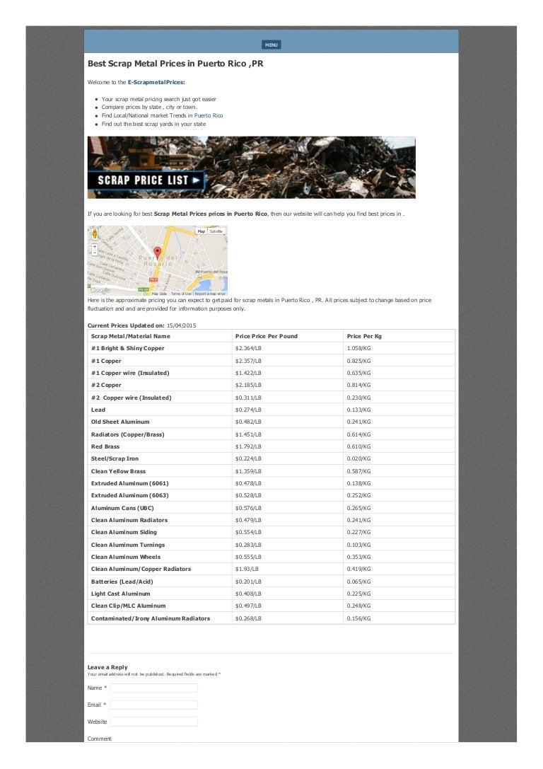 Scrap Metal Prices in puerto rico