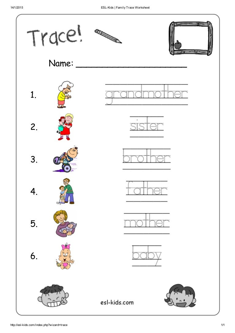 Esl kids family trace worksheet – Family Worksheets for Kindergarten
