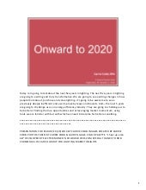 Onword to 2020