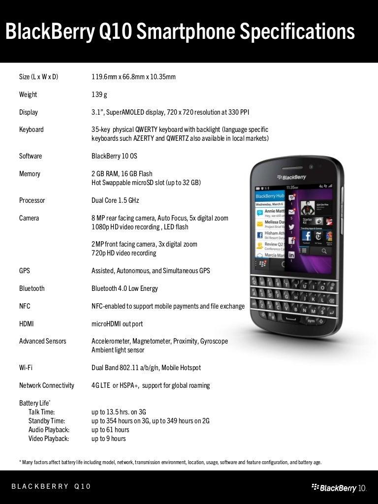 Especificaciones Del Blackberry Q10 4g Lte