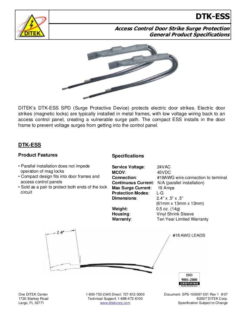 Ditek Ess Data Sheet Surge Protection Device Wiring Diagram