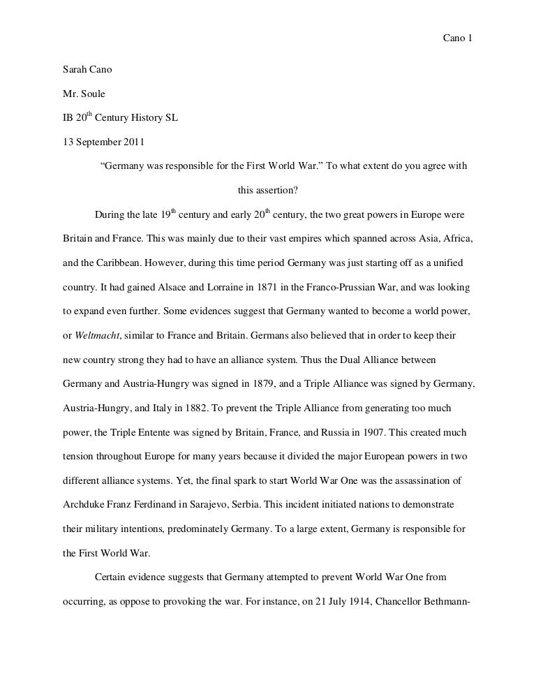 who started ww1 essay