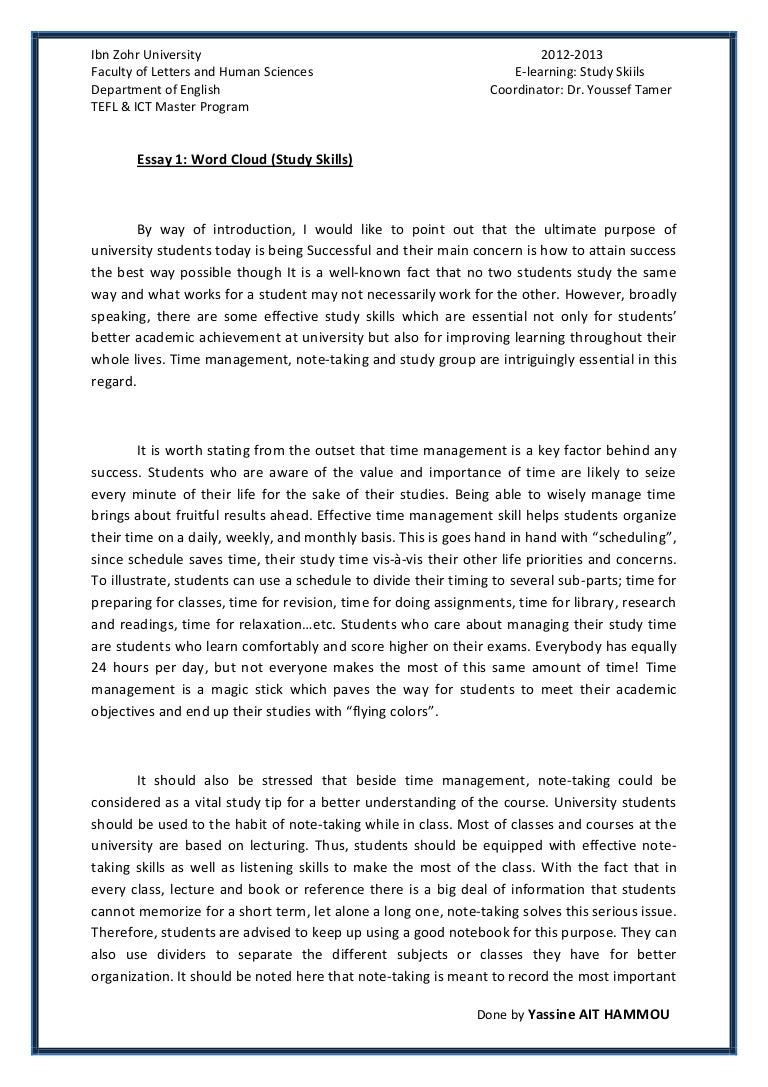 time management essays essay about the importance of time  essay 1 study skills by yassine ait hammou