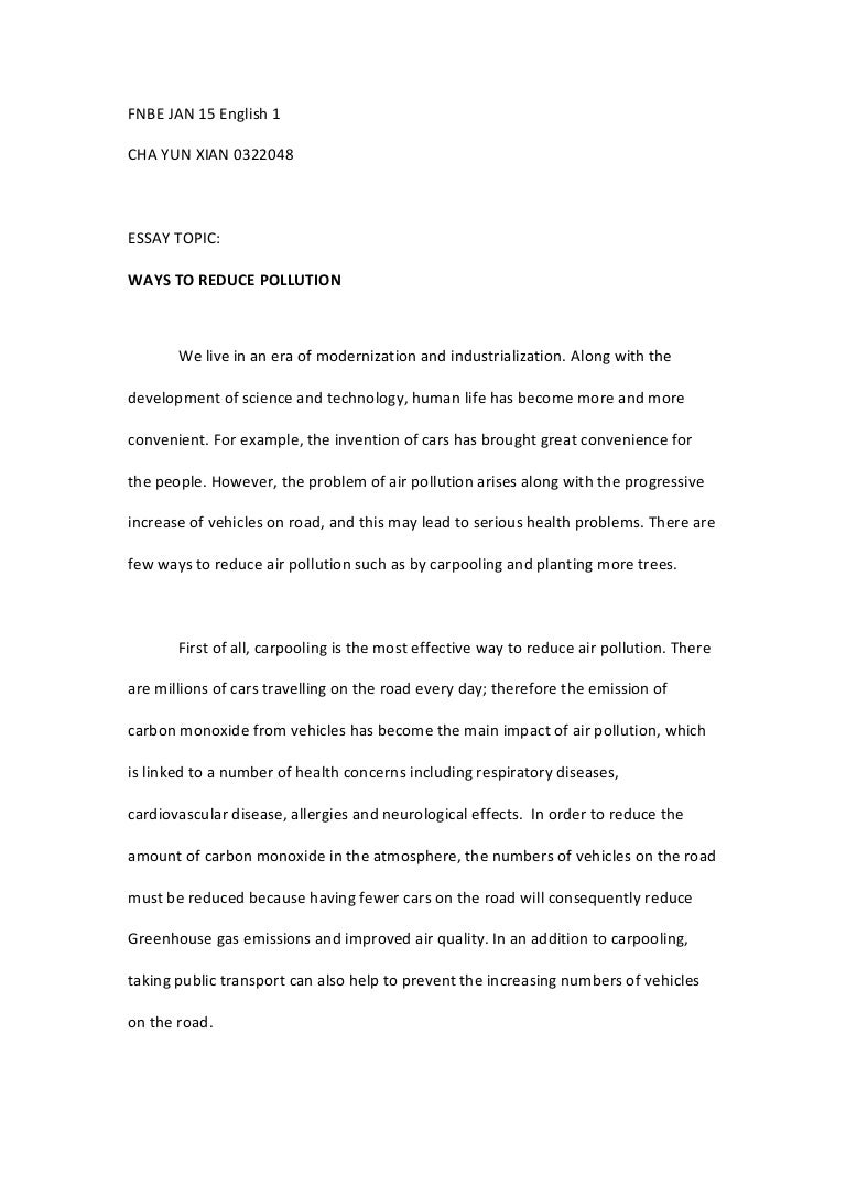 elg 30505 essay 1 ways to reduce pollution