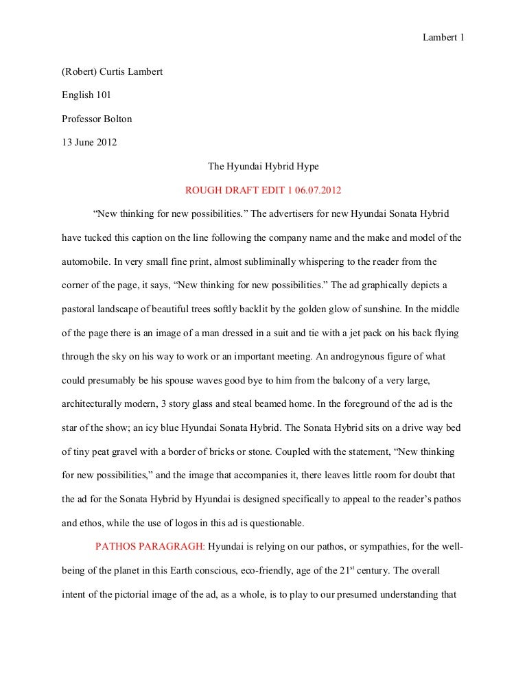 essay 1 ad analysis rough draft the hyundai hubrid hype - Example Of A Rhetorical Essay