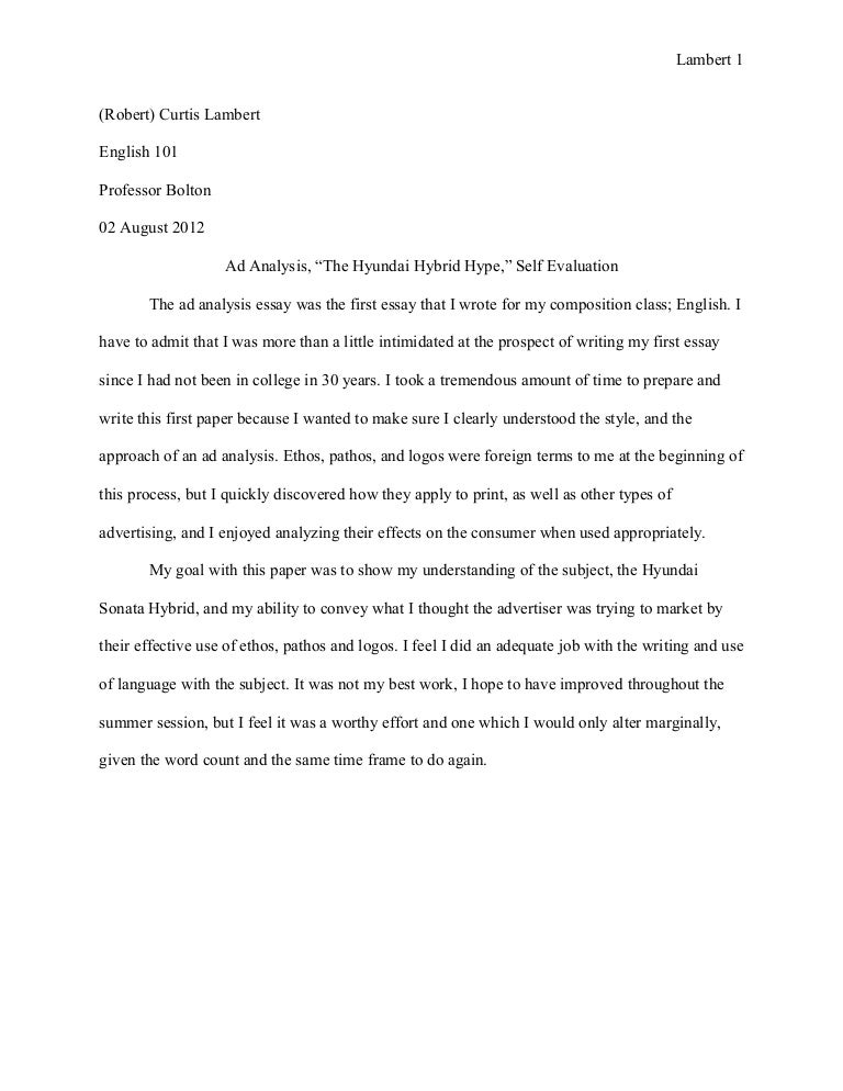 essay ad analysis self evaluation