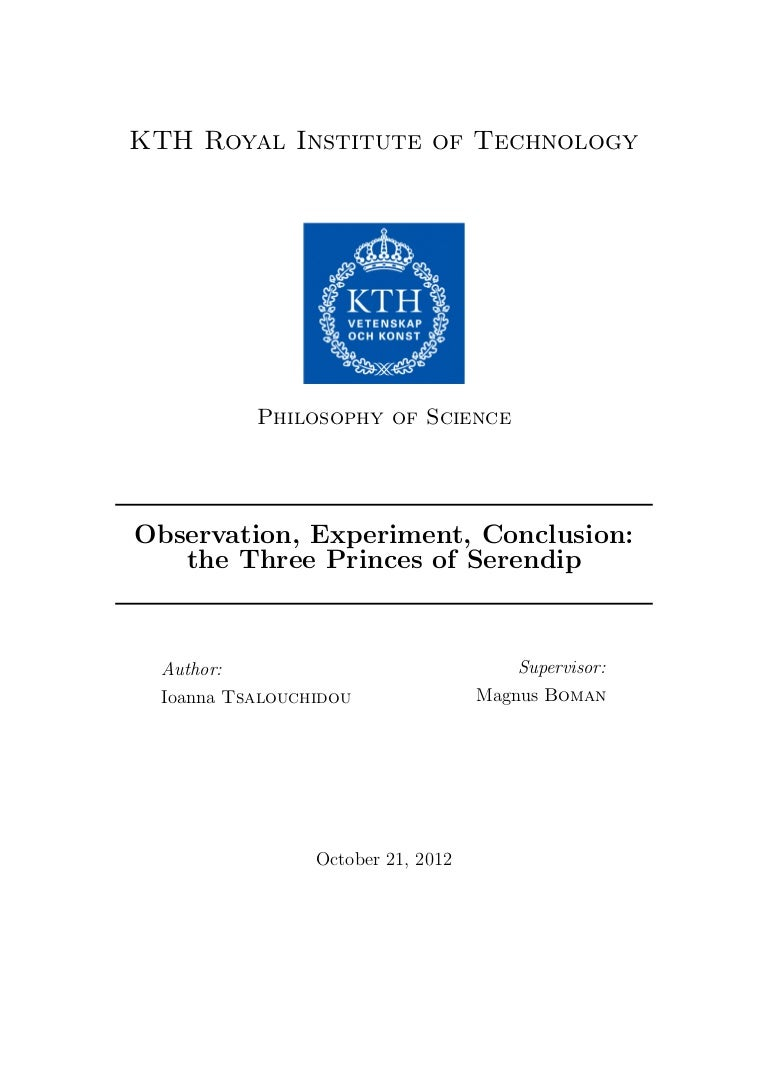 observation experiment conclusion the three princes of serendip es