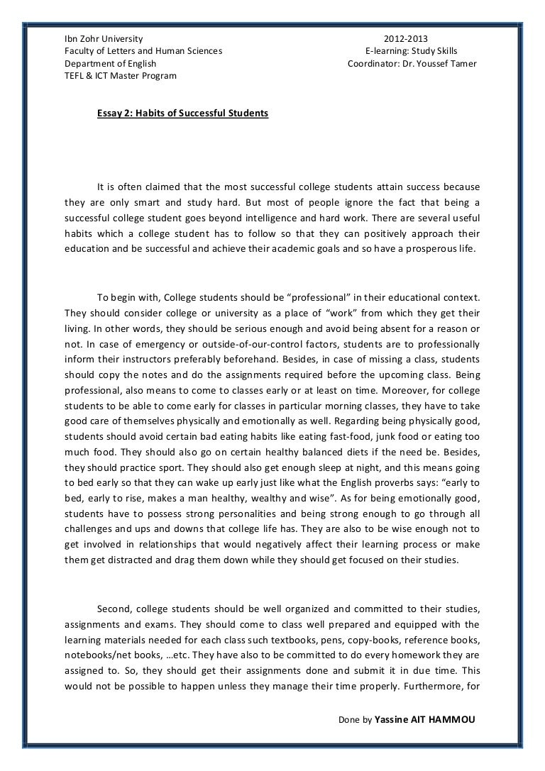 Sample essay on education