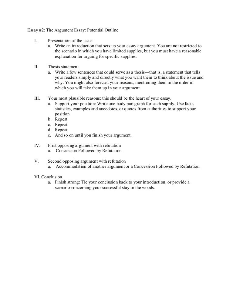 essay the argument essay potential outline