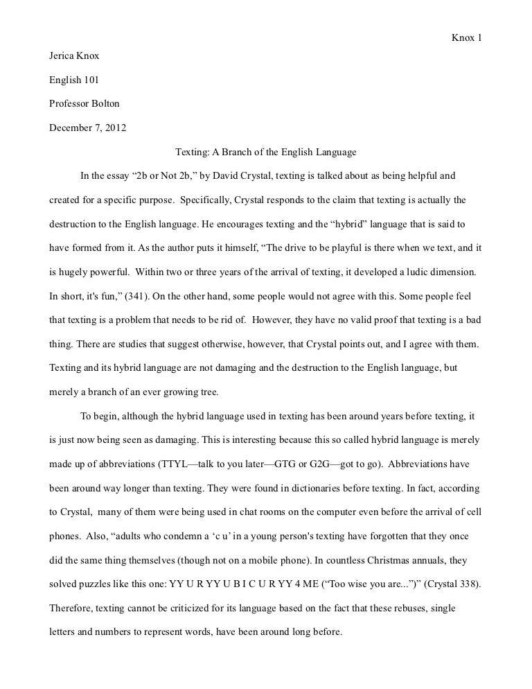 essays on texting vs talking