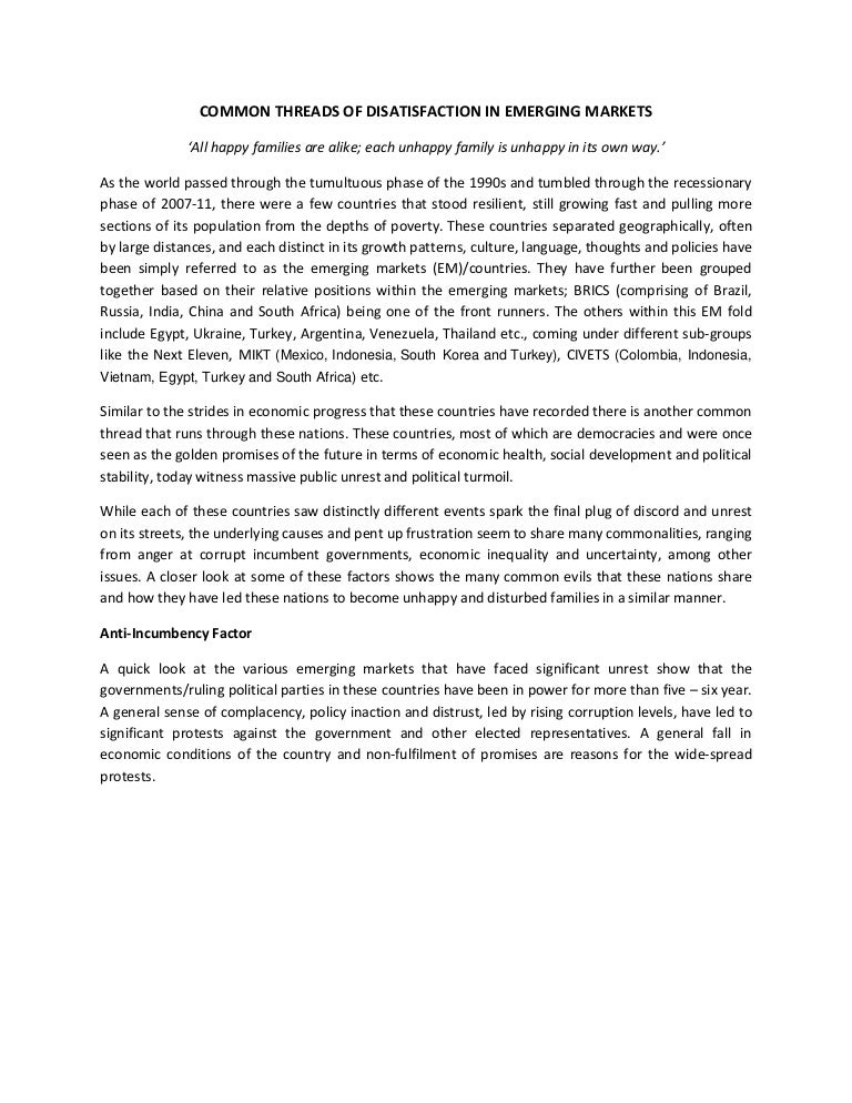 essay common economic political factors in emerging markets