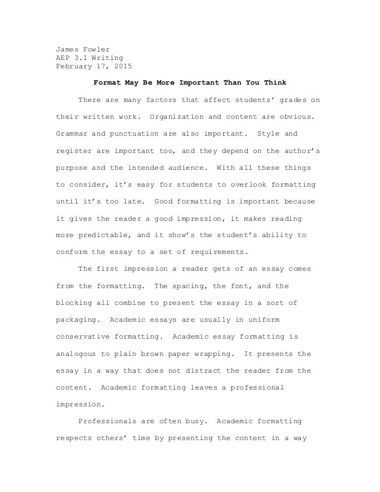 format of an academic essay