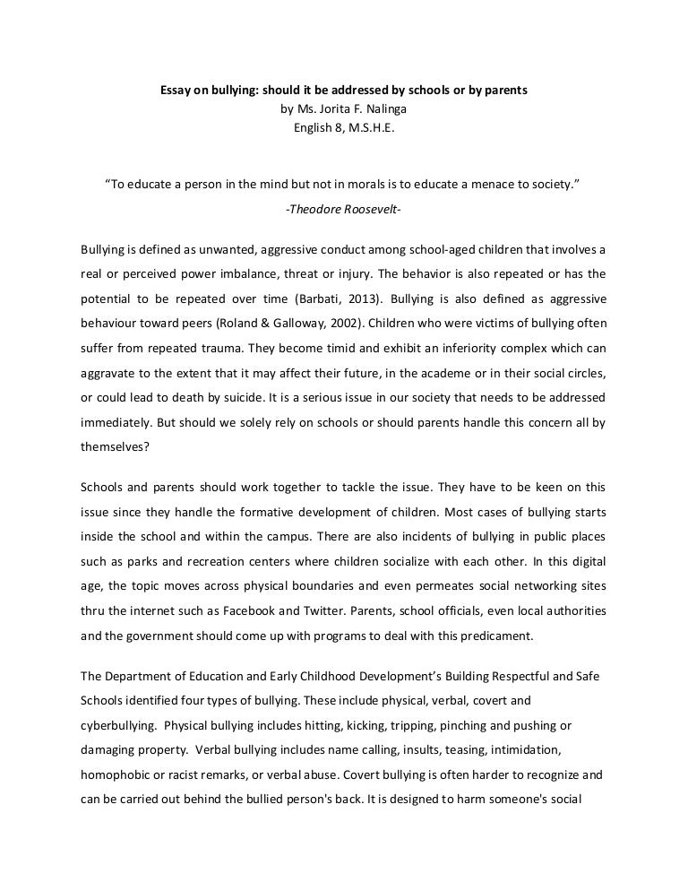 essay on bullying - Bullying Essay Example