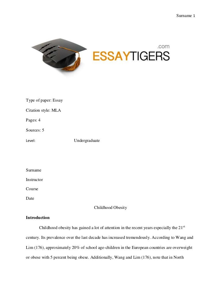 essay on childhood obesity essay sample