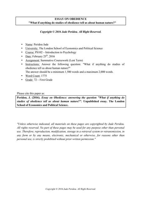 essay on obedience jade peridou