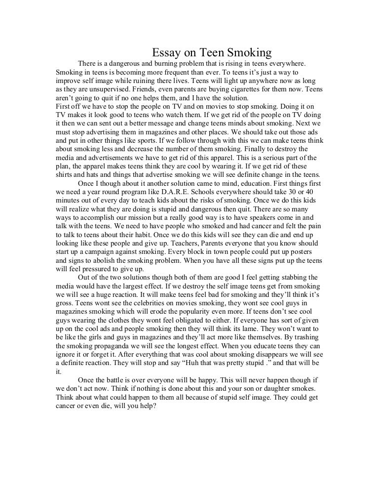 essay on teen smoking