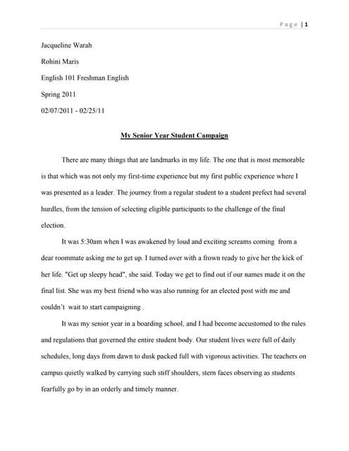 essay senior year