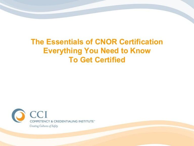Cnor Trilogy Pt 1 Essentials Of Certification