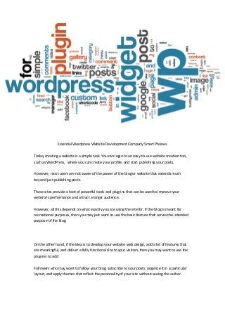 Essential WordPress Website Development Company Smart Phones.
