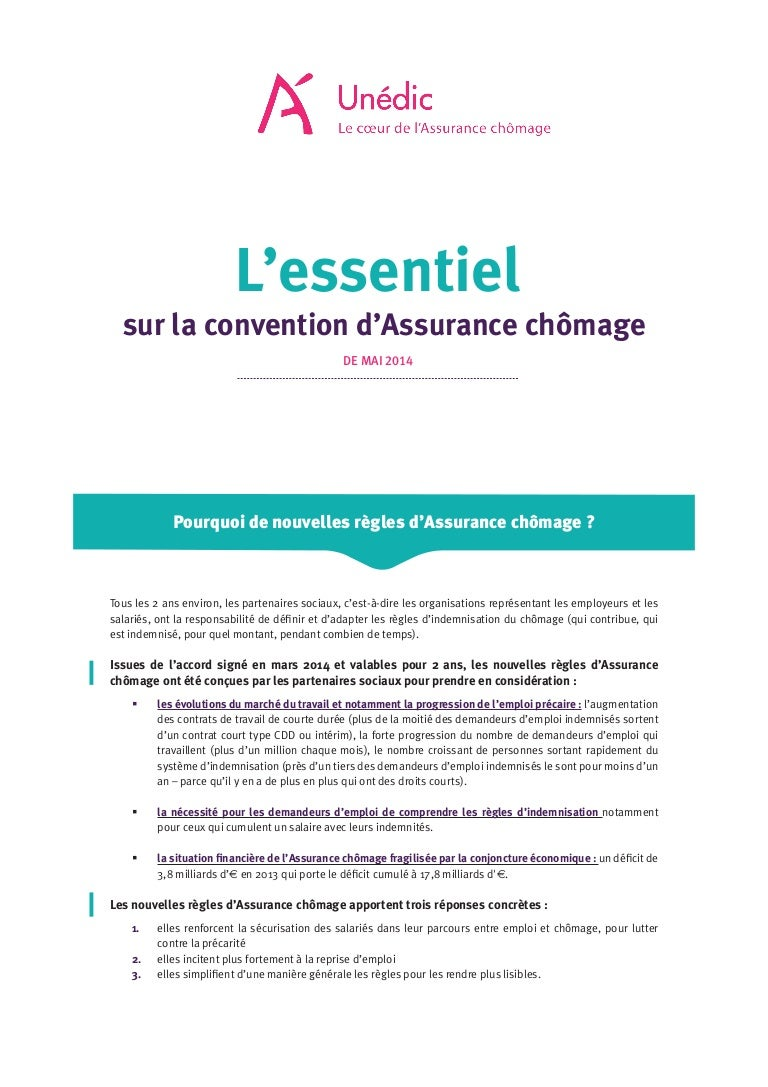 Essentiel Convention Assurance Chomage De Mai 2014