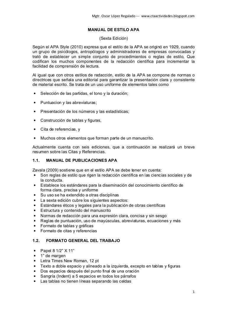 Normas APA guía sexta edición