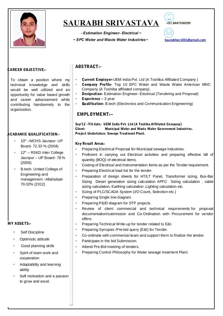 for Estimation Engineer Electrical 3 year exp