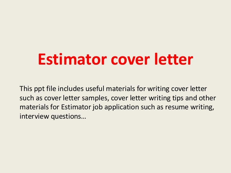 Awesome Cost Estimator Cover Letter Ideas - Coloring & Templates ...