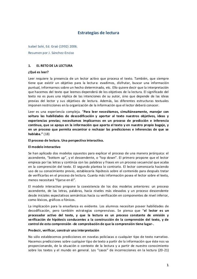 ESTRATEGIAS DE LECTURA ISABEL SOLÈ -resumen