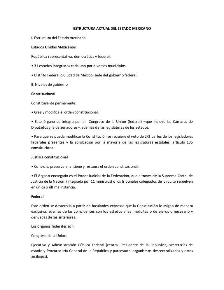 Estructura Actual Del Estado Mexicano