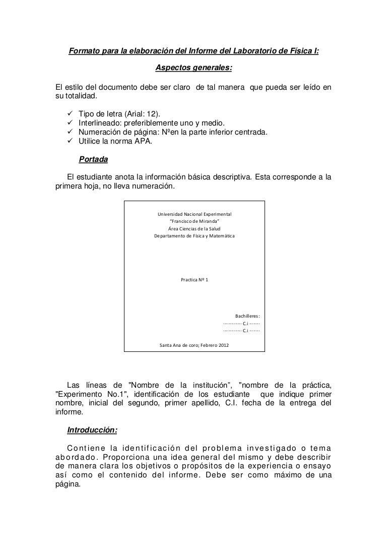 Estrutura del informe de laboratorio de fisica i