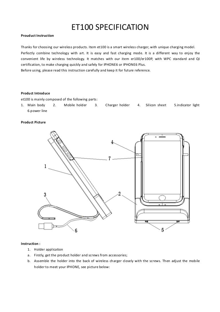Wireless Charging For Iphone Specification 4 Screws Diagram