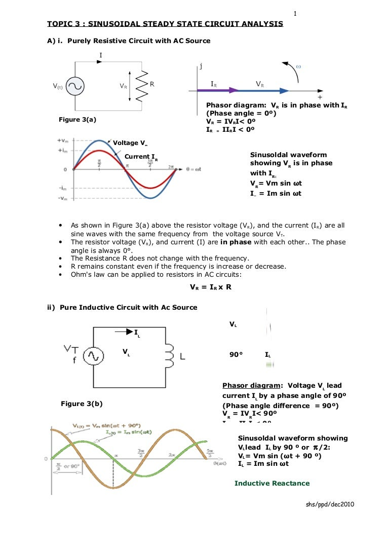 Et201 Chapter3 Sinusoidal Steady State Circuit Analysis Inductors In Ac Circuits Inductive Reactive And Phasor Diagrams