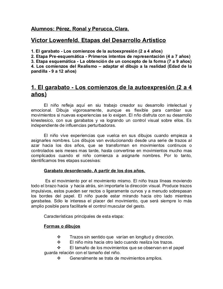 Vctor Lowenfeld Etapas del Desarrollo Artstico