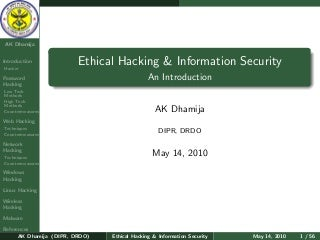Ethical hacking & Information Security